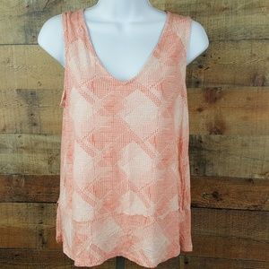 Old Navy Tank Blouse Top Women's Size S Pink White